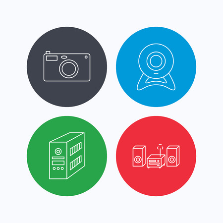 pc case: Photo camera, pc case and music center icons. Web camera linear sign. Linear icons on colored buttons. Flat web symbols. Vector