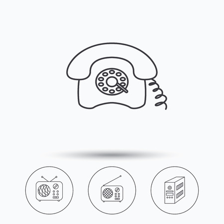 pc case: Radio, retro phone and pc case icons. Vintage radio linear sign. Linear icons in circle buttons. Flat web symbols. Vector Illustration