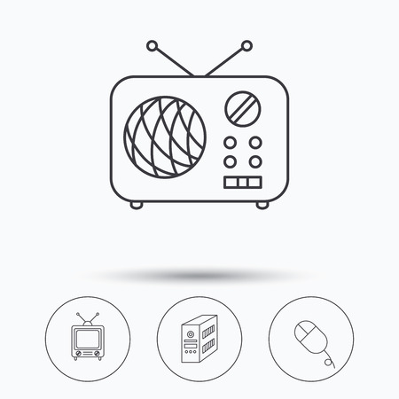 pc case: Radio, retro TV and PC mouse icons. PC case linear sign. Linear icons in circle buttons. Flat web symbols. Vector