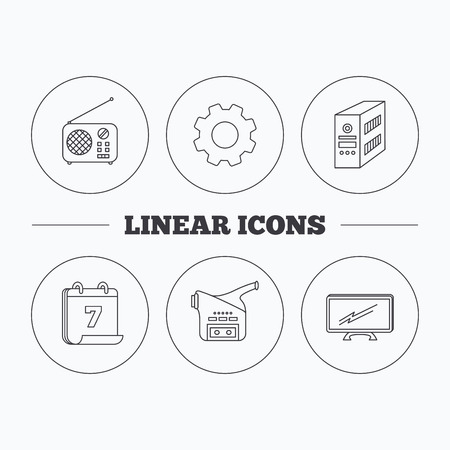 pc case: Radio, TV and video camera icons. PC case linear sign. Flat cogwheel and calendar symbols. Linear icons in circle buttons. Vector Illustration