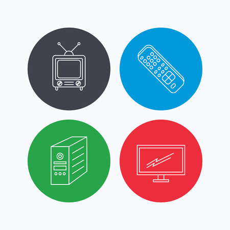 pc case: Retro TV, monitor and pc case icons. TV remote linear sign. Linear icons on colored buttons. Flat web symbols. Vector