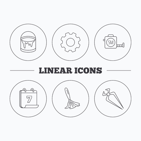 nippers: Tape measure, bucket of paint and paint brush icons. Nippers linear sign. Flat cogwheel and calendar symbols. Linear icons in circle buttons. Vector Illustration
