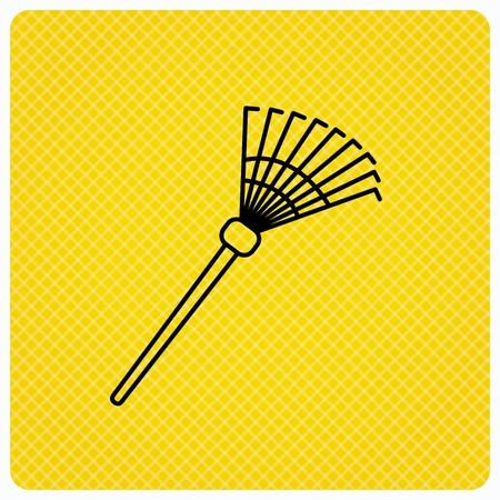 gardening  equipment: Rake icon. Gardening equipment sign. Outdoor instrument symbol. Linear icon on orange background. Vector Illustration