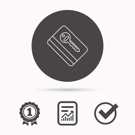 room card: Electronic key icon. Hotel room card sign. Unlock chip symbol. Report document, winner award and tick. Round circle button with icon. Vector Illustration