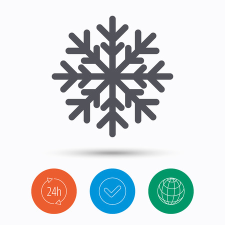 Snowflake icon. Air conditioning symbol. Check tick, 24 hours service and internet globe. Linear icons on white background. Vector Stock Photo