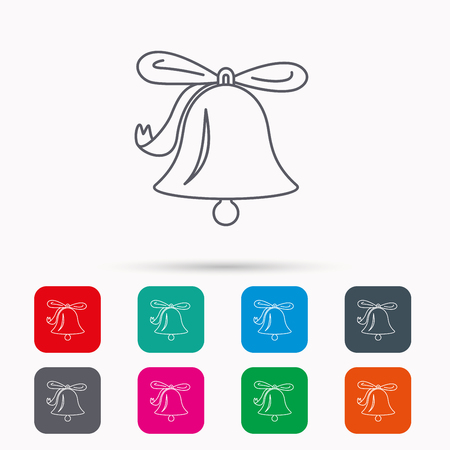 handbell: Ringing jingle bell icon. Sound sign. Alarm handbell symbol. Linear icons in squares on white background. Flat web symbols. Vector