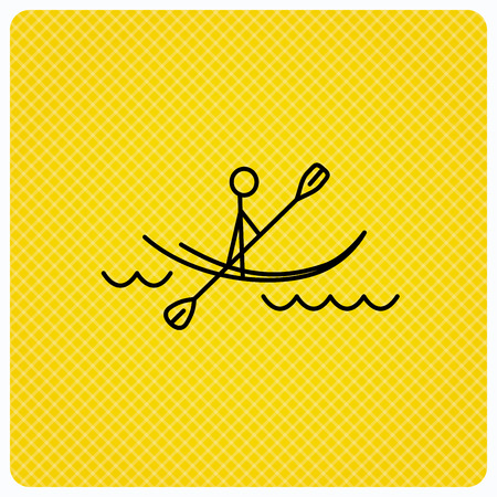boating: Kayaking on waves icon. Rafting or canoeing sign. Boating sport symbol. Linear icon on orange background. Vector