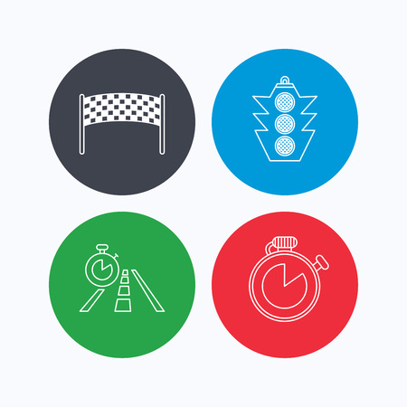 checkpoint: Checkpoint, traffic lights and timer icons. Travel time, road linear signs. Linear icons on colored buttons. Flat web symbols. Vector