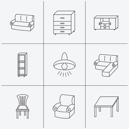 shelving: Corner sofa, table and armchair icons. Chair, ceiling lamp and chest of drawers linear signs. Shelving, furniture flat line icons. Linear icons on white background. Vector