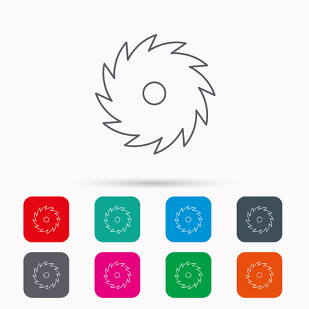 cutoff blade: Circular saw icon. Cutting disk sign. Woodworking sawblade symbol. Linear icons in squares on white background. Flat web symbols. Vector