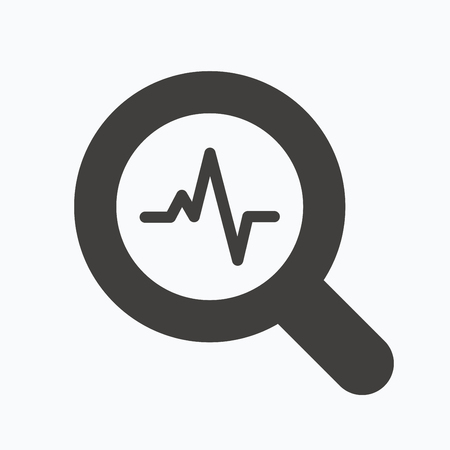 Heartbeat in magnifying glass icon. Cardiology symbol. Medical pressure sign. Gray flat web icon on white background. Vector Illustration