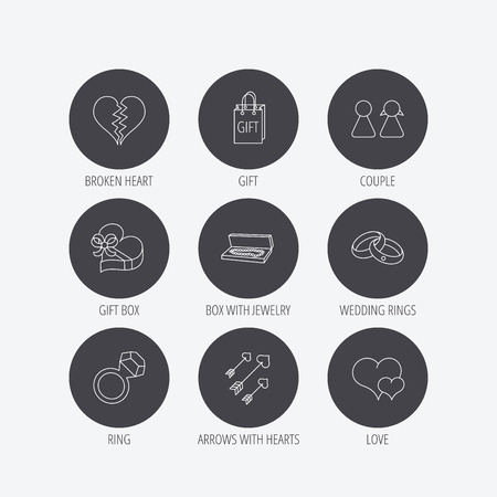 amour: Love heart, gift box and wedding rings icons. Broken heart and couple linear signs. Valentine amour arrows flat line icons. Linear icons in circle buttons. Flat web symbols. Vector Illustration