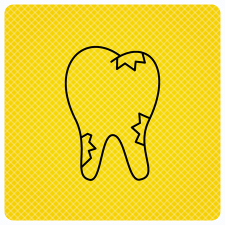 paradontosis: Caries icon. Tooth health sign. Linear icon on orange background. Vector Illustration