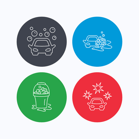 operated: Car wash icons. Automatic cleaning station linear signs. Wet cleaning and foam bucket flat line icons. Linear icons on colored buttons. Flat web symbols. Vector