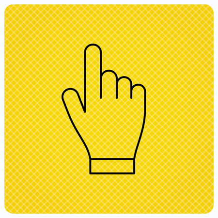 Click hand icon. Press or push pointer sign. Linear icon on orange background. Vector Illustration