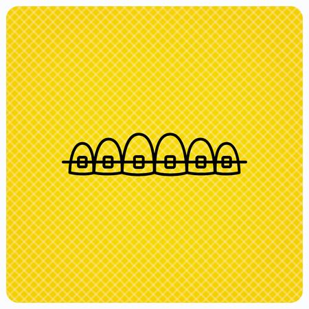 Dental braces icon. Teeth healthcare sign. Orthodontic symbol. Linear icon on orange background. Vector Illustration