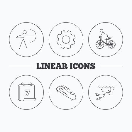 bobsled: Diving, biking and archery icons. Bobsled linear sign. Flat cogwheel and calendar symbols. Linear icons in circle buttons. Vector