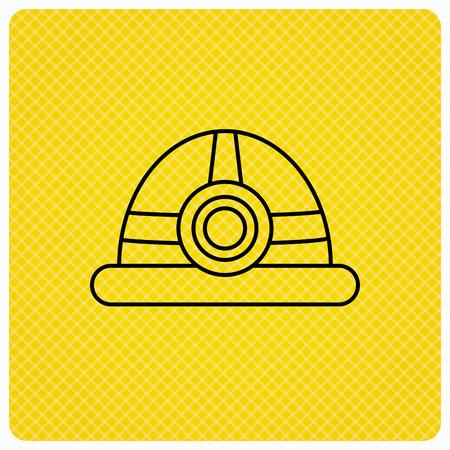 industrialist: Engineering icon. Engineer or worker helmet sign. Linear icon on orange background. Vector Illustration