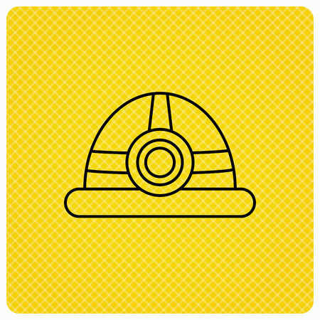 Engineering icon. Engineer or worker helmet sign. Linear icon on orange background. Vector Illustration