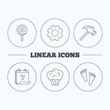 foot gear: Footprint, lolly pop and muffin icons. Hammer linear sign. Flat cogwheel and calendar symbols. Linear icons in circle buttons. Vector