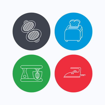 flat iron: Iron, toaster and blender icons. Waffle-iron linear sign. Linear icons on colored buttons. Flat web symbols. Vector