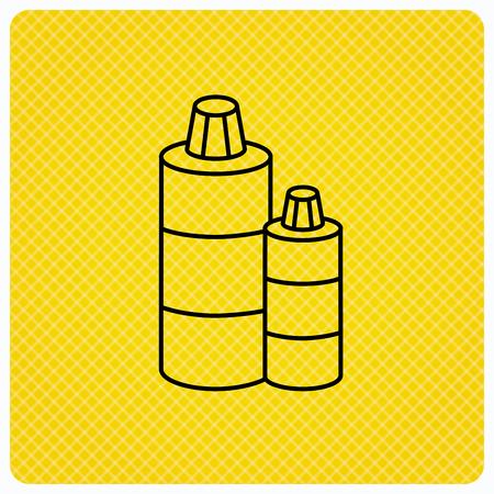 shampoo bottles: Shampoo bottles icon. Liquid soap sign. Linear icon on orange background. Vector