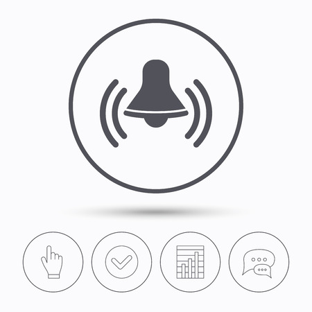 wake up call: Bell icon. Reminder alarm signal symbol. Chat speech bubbles. Check tick, report chart and hand click. Linear icons. Vector Illustration