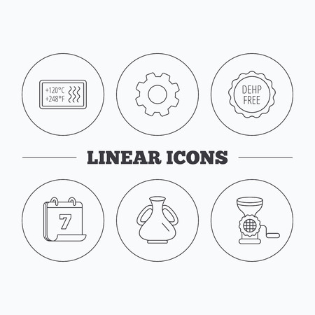 Meat grinder, vase and heat-resistant icons. DEHP free linear sign. Flat cogwheel and calendar symbols. Linear icons in circle buttons. Vector Illustration