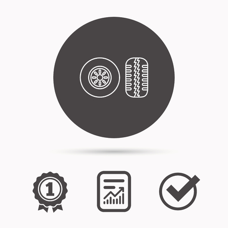 tread: Tire tread icon. Car wheel sign. Report document, winner award and tick. Round circle button with icon. Vector