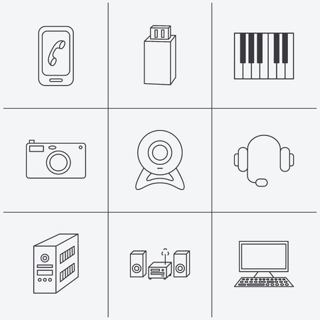 pc case: Photo camera, headphones and Usb flash icons. PC case, computer with monitor and web camera linear signs. Piano icons. Linear icons on white background. Vector