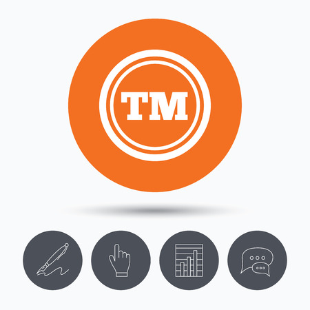 tm: Registered TM trademark icon. Intellectual work protection symbol. Speech bubbles. Pen, hand click and chart. Orange circle button with icon. Vector