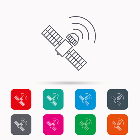 satellite navigation: GPS icon. Satellite navigation sign. Linear icons in squares on white background. Flat web symbols. Vector