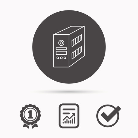 pc case: Computer server icon. PC case or tower sign. Report document, winner award and tick. Round circle button with icon. Vector Illustration