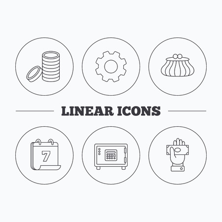 give money: Give money, cash money and wallet icons. Safe box, coins linear signs. Flat cogwheel and calendar symbols. Linear icons in circle buttons. Vector