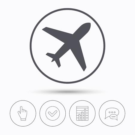 icono de plano. símbolo transporte vuelo. burbujas de chat de voz. Compruebe la señal, gráfico informe y mano clic. iconos lineales. Vector Ilustración de vector