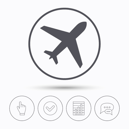 Plane icon. Flight transport symbol. Chat speech bubbles. Check tick, report chart and hand click. Linear icons. Vector Vector Illustration