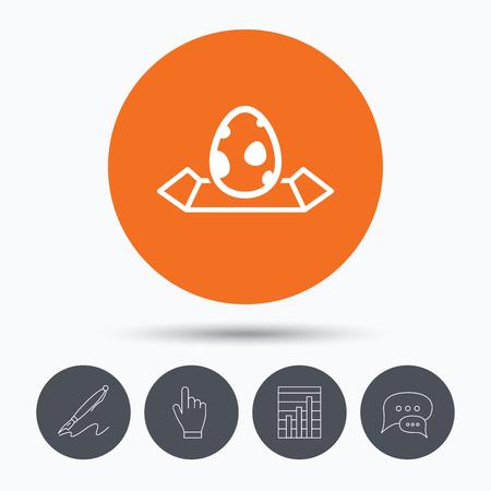 dinosaur egg: Dinosaur egg icon. Location map symbol.  egg concept. Speech bubbles. Pen, hand click and chart. Orange circle button with icon. Vector