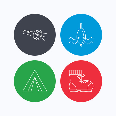 fishing float: Flashlight, fishing float and hiking boots. Camping tent linear sign. Linear icons on colored buttons. Flat web symbols. Vector