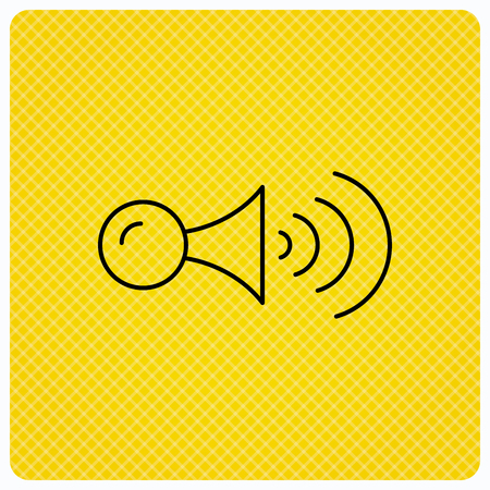 Klaxon signal icon. Car horn sign. Linear icon on orange background. Vector