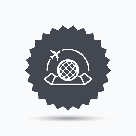 travel star: World map icon. Globe with airplane sign. Plane travel symbol. Gray star button with flat web icon. Vector