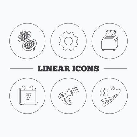 bread maker: Curling iron, hair-dryer and toaster icons. Waffle-iron linear sign. Flat cogwheel and calendar symbols. Linear icons in circle buttons. Vector Illustration
