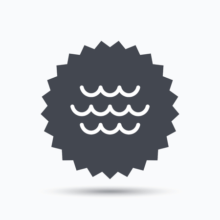 water stream: Wave icon. Water stream symbol. Gray star button with flat web icon. Vector