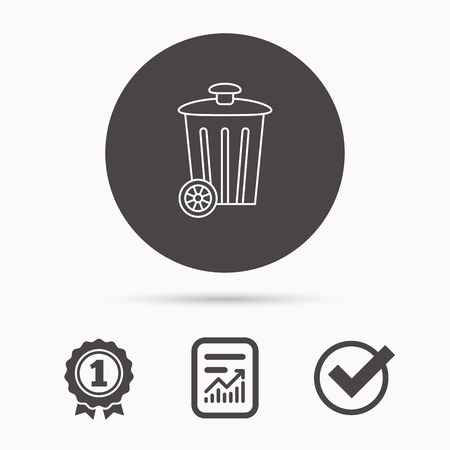 trash container: Recycle bin icon. Trash container sign. Street rubbish symbol. Report document, winner award and tick. Round circle button with icon. Vector