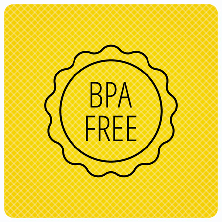 phthalates: BPA free icon. Bisphenol plastic sign. Linear icon on orange background. Vector