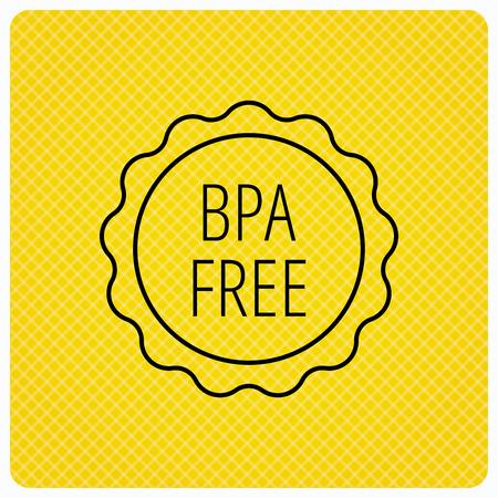 bisphenol a: BPA free icon. Bisphenol plastic sign. Linear icon on orange background. Vector
