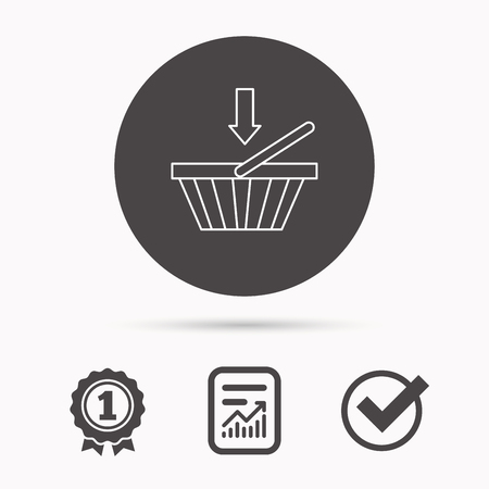 affiliation: Shopping cart icon. Online buying sign. Report document, winner award and tick. Round circle button with icon. Vector