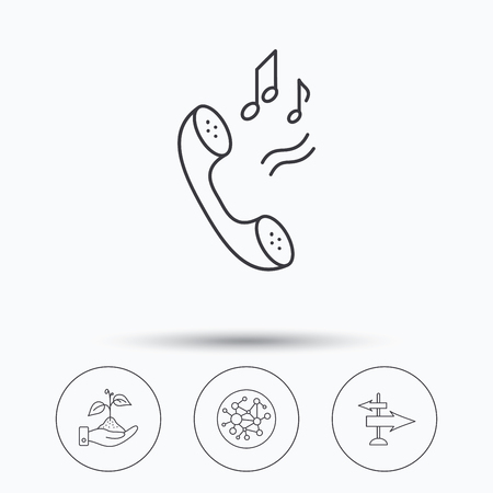 global direction: Phone, global network and direction icons. Save nature linear sign. Linear icons in circle buttons. Flat web symbols. Vector