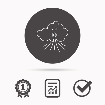the tempest: Wind icon. Cloud with storm sign. Strong wind or tempest symbol. Report document, winner award and tick. Round circle button with icon. Vector