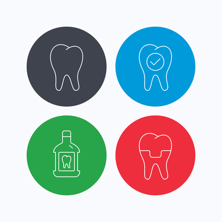paradontosis: Tooth, dental crown and mouthwash icons. Check teeth linear sign. Linear icons on colored buttons. Flat web symbols. Vector