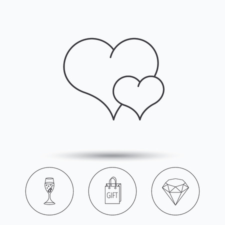 brilliant heart: Love heart, gift box and wedding ring icons. Brilliant and engagement linear signs. Linear icons in circle buttons. Flat web symbols. Vector